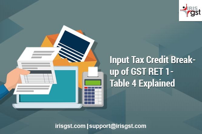 Input Tax Credit Break-up of RET 1 New Return – Table 4 Explained