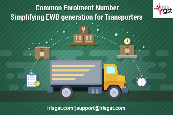E way bill generation for transporters using Common Enrolment Number
