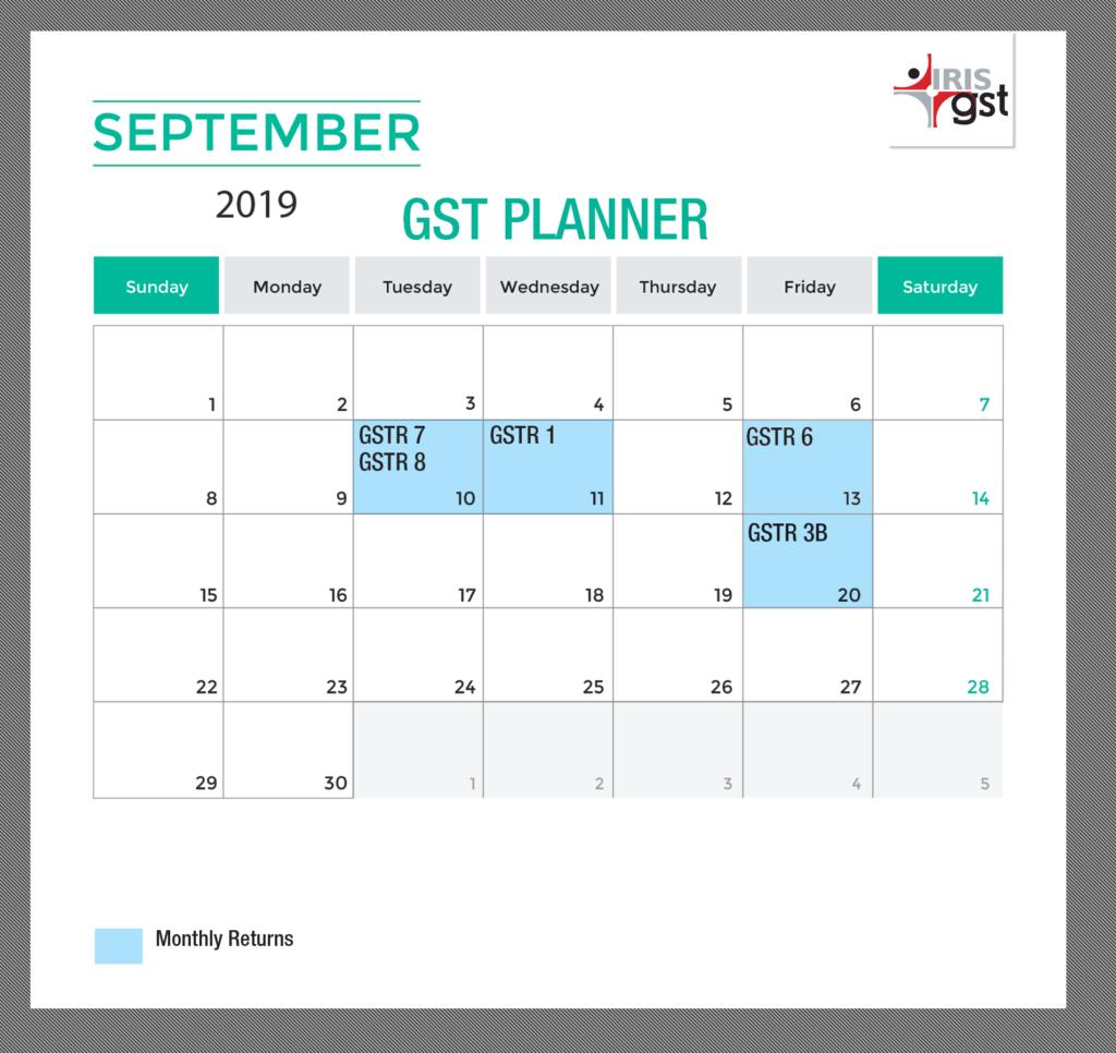 September 2019 GST Compliance Calendar