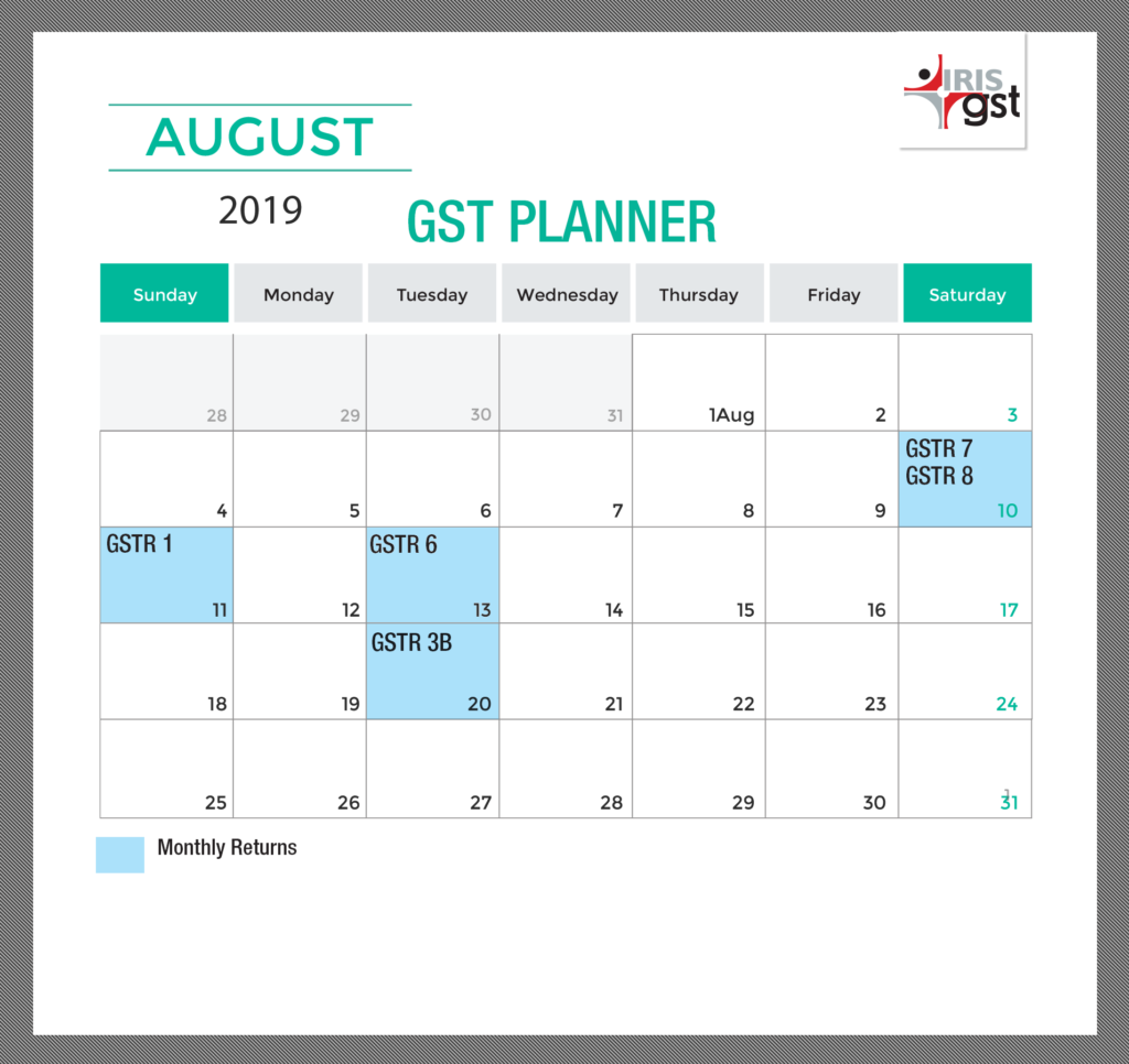 August 2019 Compliance Calendar