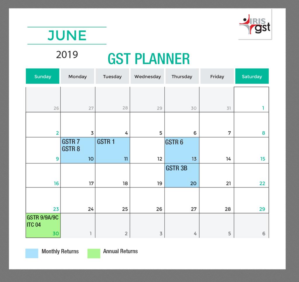 June GST Calender 2019