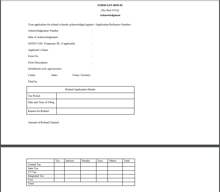 Form GST RFD 02