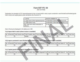 Form GST ITC 03