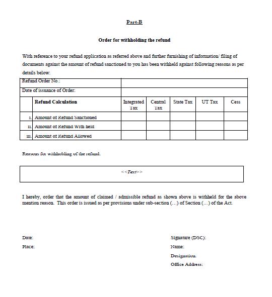 Form-GST-RFD-07 Part B