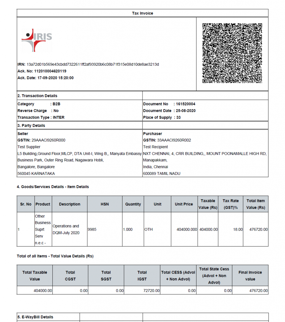 specimen of a B2B invoice with QR code