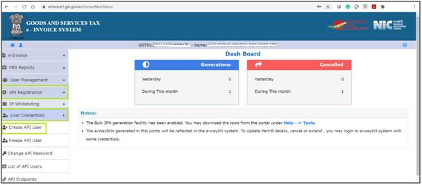 E-invoicing create user