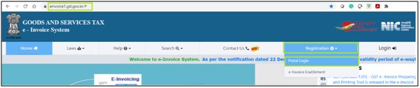 E-invoicing portal login