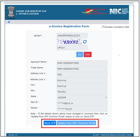E-invoicing send OTP